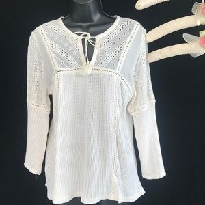 Lucky Brand Semi Sheer Blouse Top